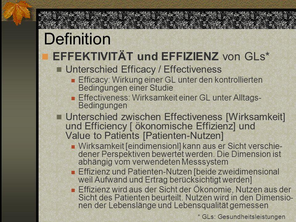 Definition EFFEKTIVITÄT und EFFIZIENZ von GLs* Unterschied Efficacy / Effectiveness Efficacy: Wirkung einer GL unter den kontrollierten Bedingungen ei