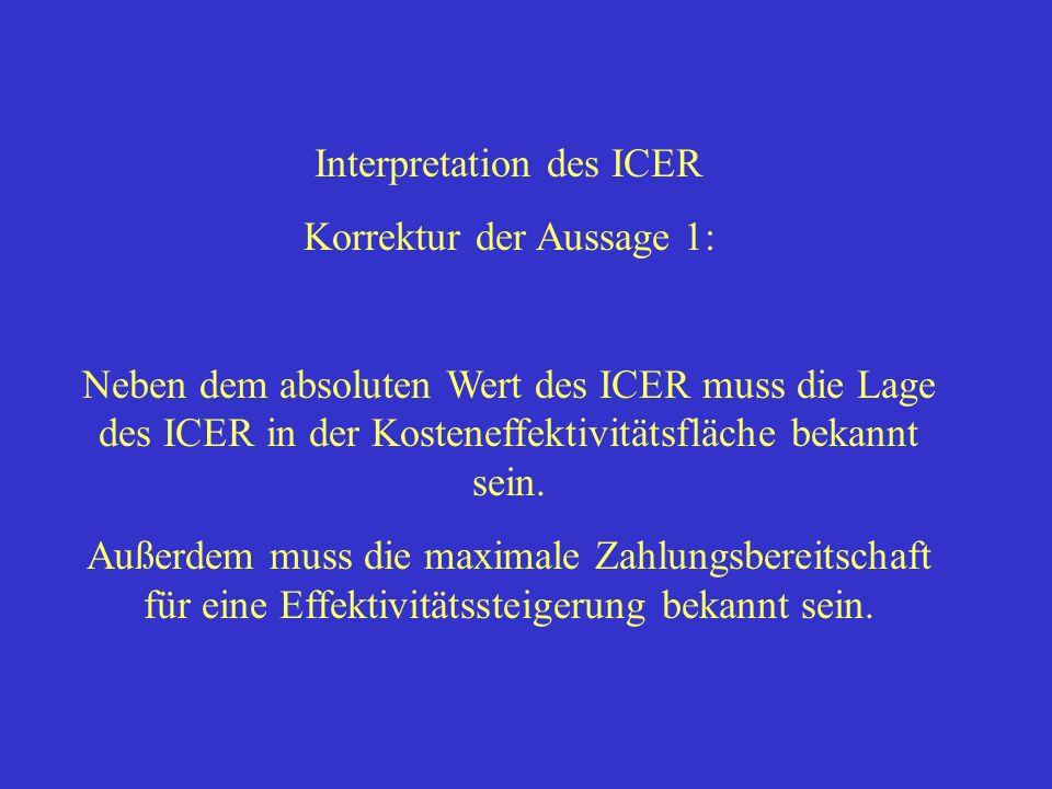 Interpretation des ICER Korrektur der Aussage 1: Neben dem absoluten Wert des ICER muss die Lage des ICER in der Kosteneffektivitätsfläche bekannt sei