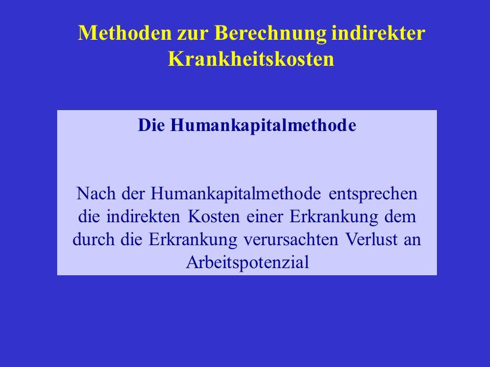 Methoden zur Berechnung indirekter Krankheitskosten Die Humankapitalmethode Nach der Humankapitalmethode entsprechen die indirekten Kosten einer Erkra