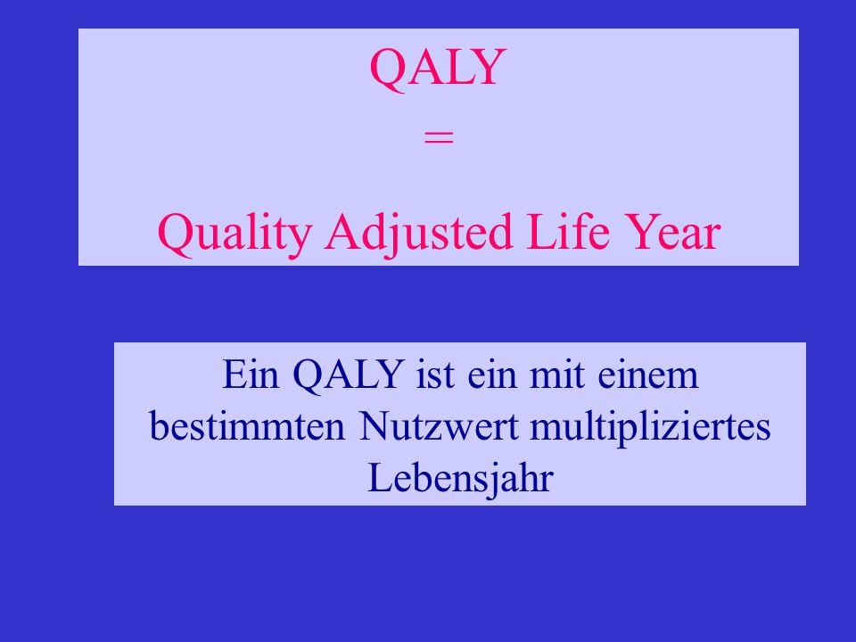 Ein QALY ist ein mit einem bestimmten Nutzwert multipliziertes Lebensjahr QALY = Quality Adjusted Life Year