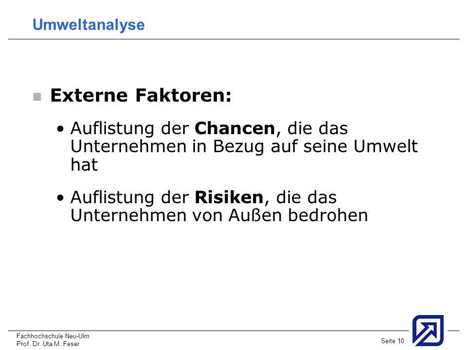 Fachhochschule Neu-Ulm Prof. Dr. Uta M. Feser Seite 10 Umweltanalyse Externe Faktoren: Auflistung der Chancen, die das Unternehmen in Bezug auf seine