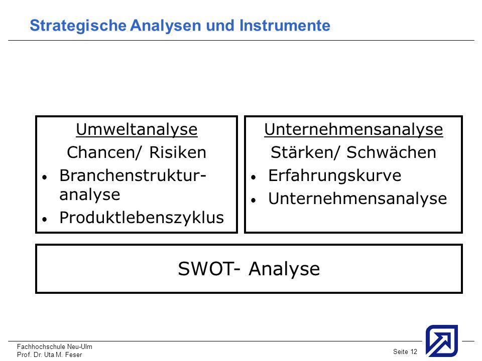 Fachhochschule Neu-Ulm Prof. Dr. Uta M. Feser Seite 12 Strategische Analysen und Instrumente Umweltanalyse Chancen/ Risiken Branchenstruktur- analyse