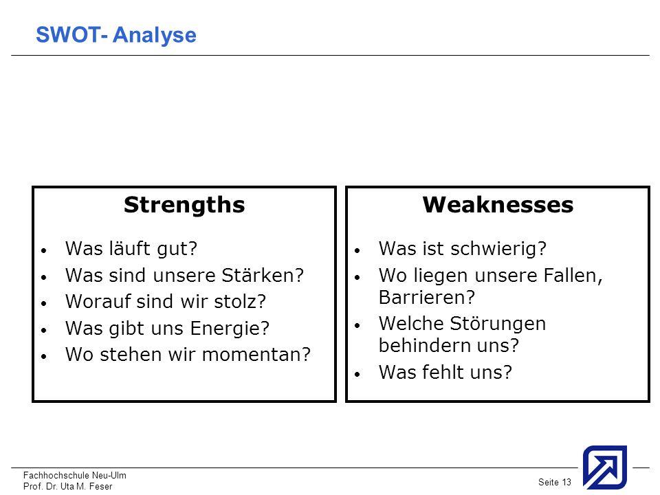 Fachhochschule Neu-Ulm Prof. Dr. Uta M. Feser Seite 13 Strengths Was läuft gut? Was sind unsere Stärken? Worauf sind wir stolz? Was gibt uns Energie?