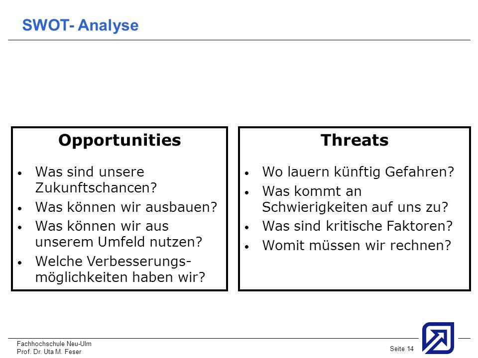 Fachhochschule Neu-Ulm Prof. Dr. Uta M. Feser Seite 14 Opportunities Was sind unsere Zukunftschancen? Was können wir ausbauen? Was können wir aus unse