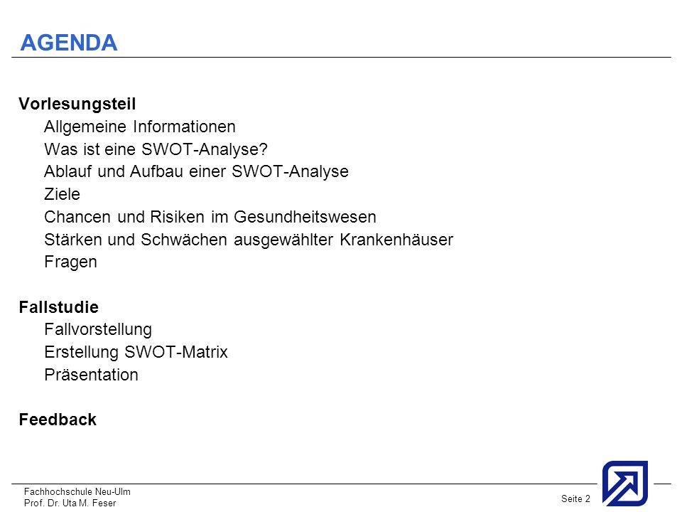Fachhochschule Neu-Ulm Prof. Dr. Uta M. Feser Seite 2 AGENDA Vorlesungsteil Allgemeine Informationen Was ist eine SWOT-Analyse? Ablauf und Aufbau eine