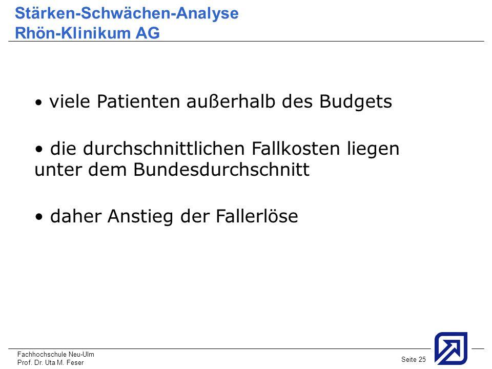 Fachhochschule Neu-Ulm Prof. Dr. Uta M. Feser Seite 25 Stärken-Schwächen-Analyse Rhön-Klinikum AG viele Patienten außerhalb des Budgets die durchschni
