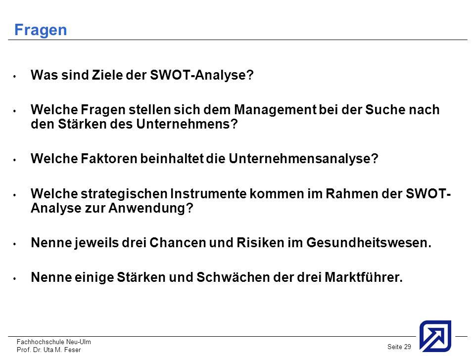 Fachhochschule Neu-Ulm Prof. Dr. Uta M. Feser Seite 29 Fragen Was sind Ziele der SWOT-Analyse? Welche Fragen stellen sich dem Management bei der Suche