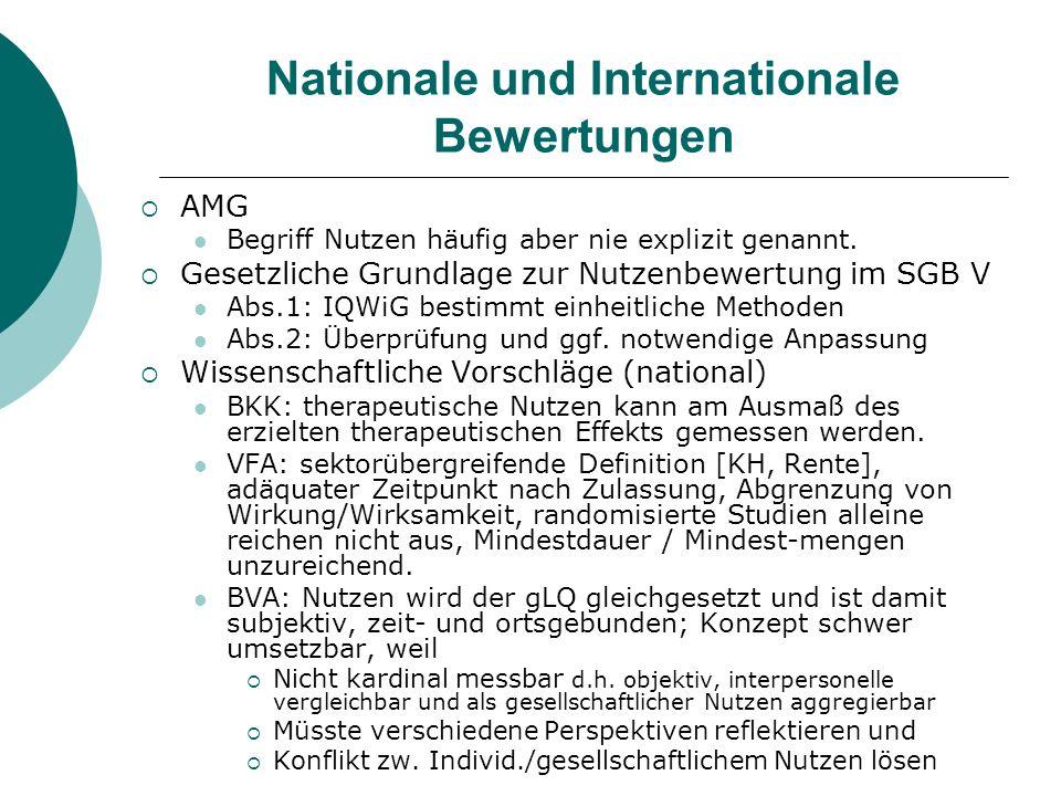 Nationale und Internationale Bewertungen AMG Begriff Nutzen häufig aber nie explizit genannt. Gesetzliche Grundlage zur Nutzenbewertung im SGB V Abs.1