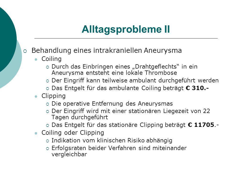 Alltagsprobleme II Behandlung eines intrakraniellen Aneurysma Coiling Durch das Einbringen eines Drahtgeflechts in ein Aneurysma entsteht eine lokale