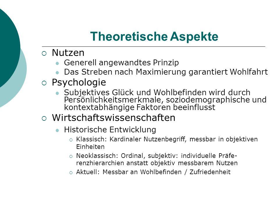 Theoretische Aspekte Nutzen Generell angewandtes Prinzip Das Streben nach Maximierung garantiert Wohlfahrt Psychologie Subjektives Glück und Wohlbefin