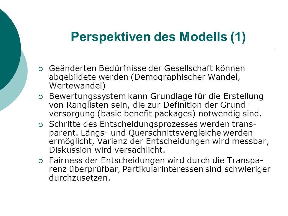 Perspektiven des Modells (1) Geänderten Bedürfnisse der Gesellschaft können abgebildete werden (Demographischer Wandel, Wertewandel) Bewertungssystem