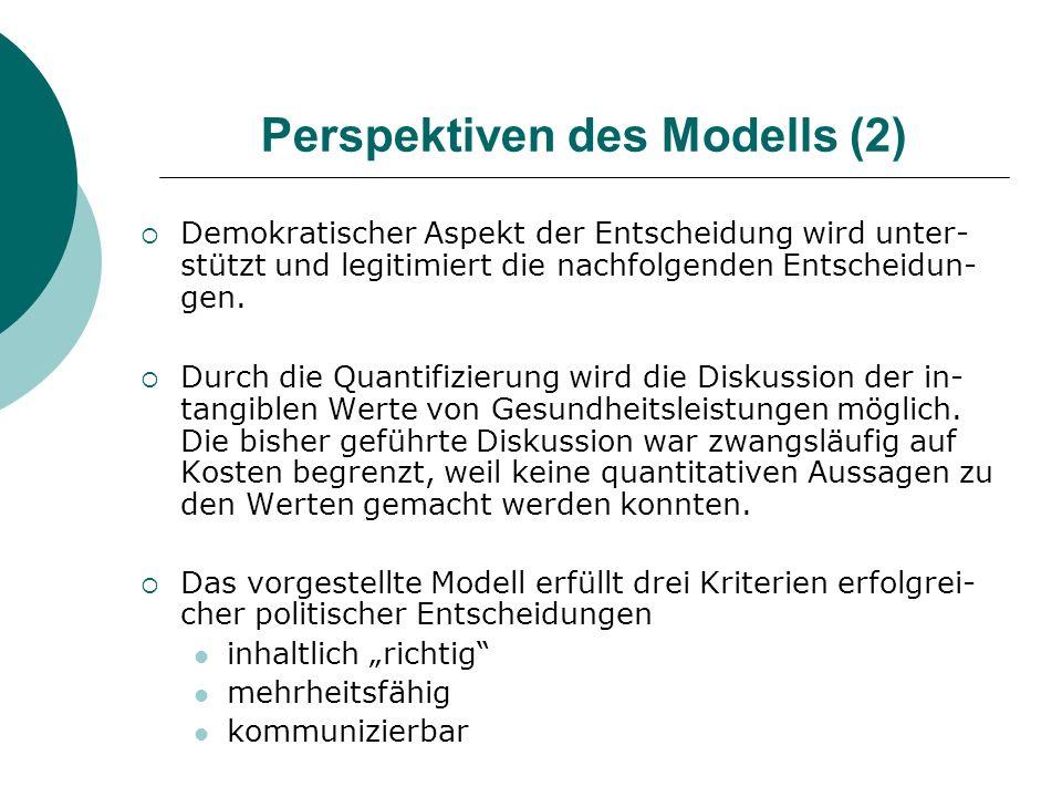 Perspektiven des Modells (2) Demokratischer Aspekt der Entscheidung wird unter- stützt und legitimiert die nachfolgenden Entscheidun- gen. Durch die Q