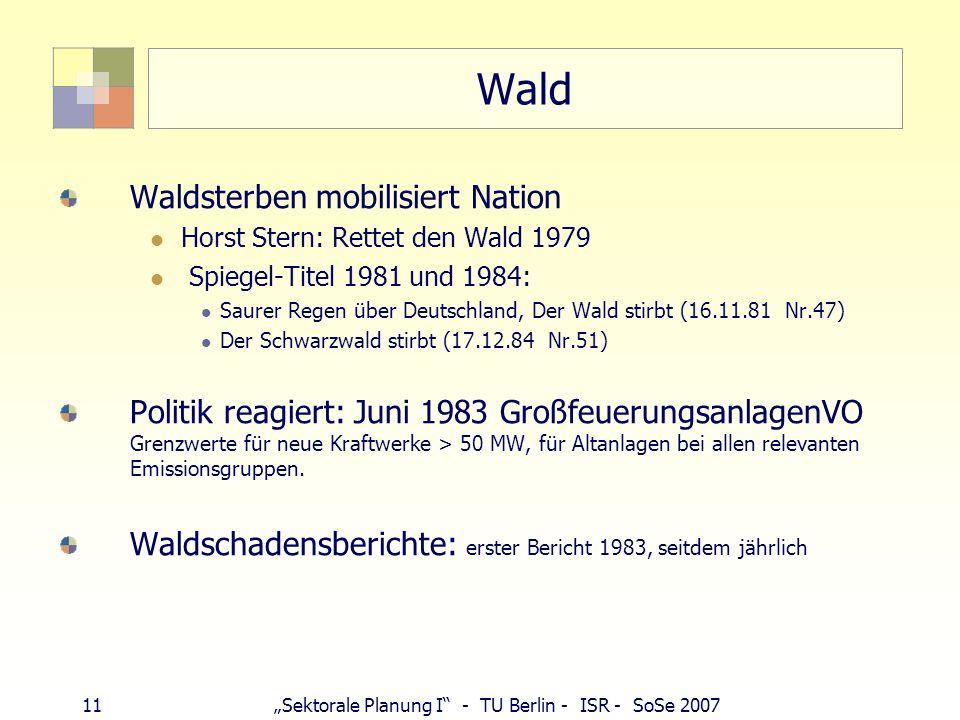 11Sektorale Planung I - TU Berlin - ISR - SoSe 2007 Wald Waldsterben mobilisiert Nation Horst Stern: Rettet den Wald 1979 Spiegel-Titel 1981 und 1984: