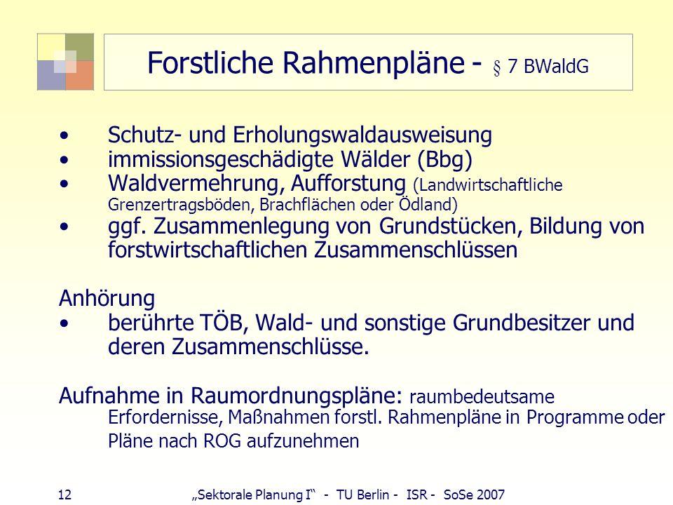 12Sektorale Planung I - TU Berlin - ISR - SoSe 2007 Forstliche Rahmenpläne - § 7 BWaldG Schutz- und Erholungswaldausweisung immissionsgeschädigte Wäld