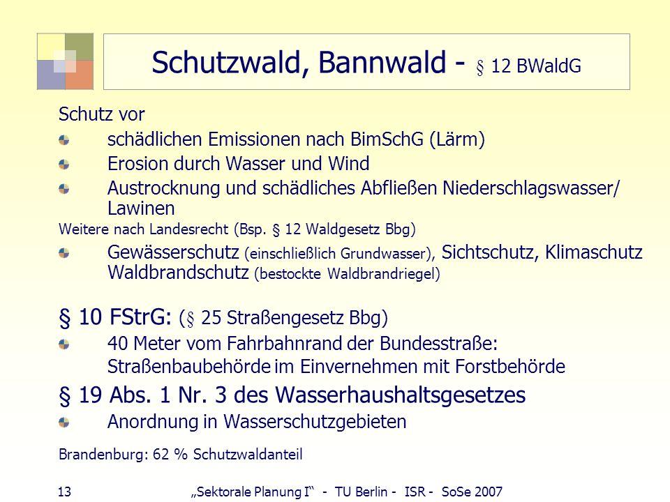 13Sektorale Planung I - TU Berlin - ISR - SoSe 2007 Schutzwald, Bannwald - § 12 BWaldG Schutz vor schädlichen Emissionen nach BimSchG (Lärm) Erosion d