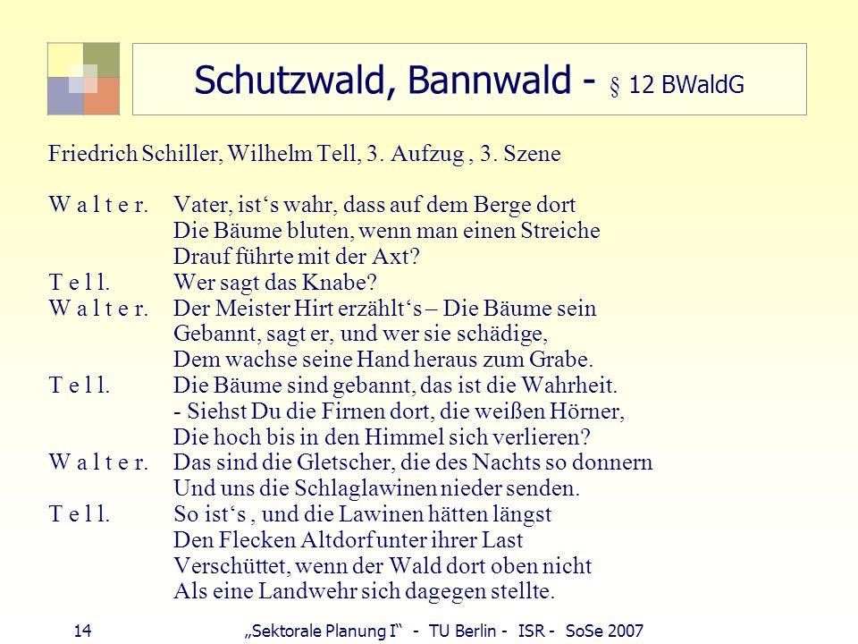 14Sektorale Planung I - TU Berlin - ISR - SoSe 2007 Schutzwald, Bannwald - § 12 BWaldG Friedrich Schiller, Wilhelm Tell, 3. Aufzug, 3. Szene W a l t e