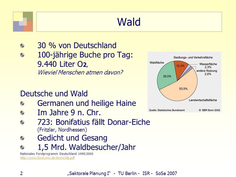 2Sektorale Planung I - TU Berlin - ISR - SoSe 2007 Wald 30 % von Deutschland 100-jährige Buche pro Tag: 9.440 Liter O 2, Wieviel Menschen atmen davon?