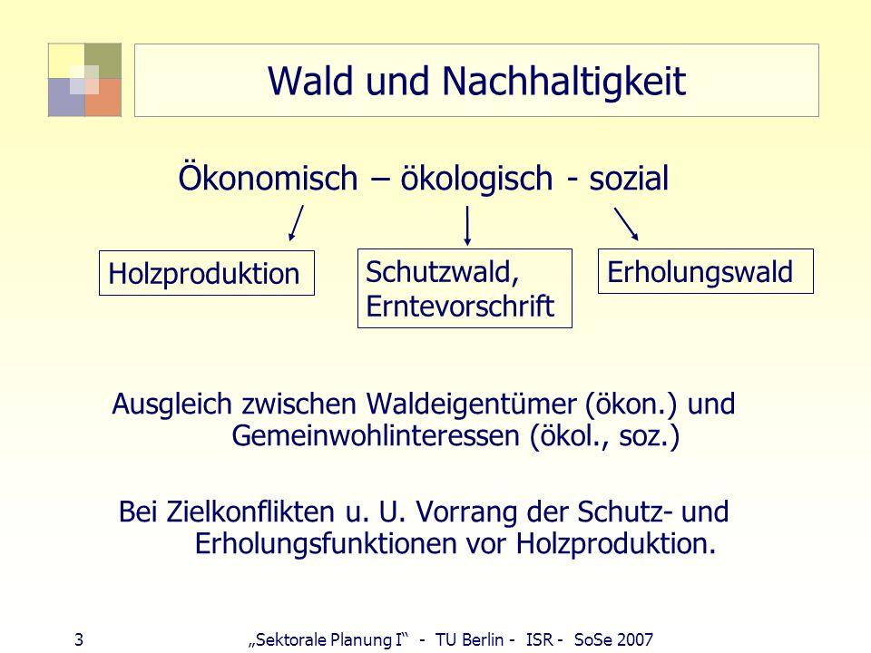3Sektorale Planung I - TU Berlin - ISR - SoSe 2007 Wald und Nachhaltigkeit Ökonomisch – ökologisch - sozial Ausgleich zwischen Waldeigentümer (ökon.)