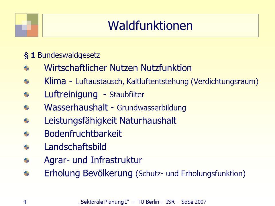 4Sektorale Planung I - TU Berlin - ISR - SoSe 2007 Waldfunktionen § 1 Bundeswaldgesetz Wirtschaftlicher Nutzen Nutzfunktion Klima - Luftaustausch, Kal
