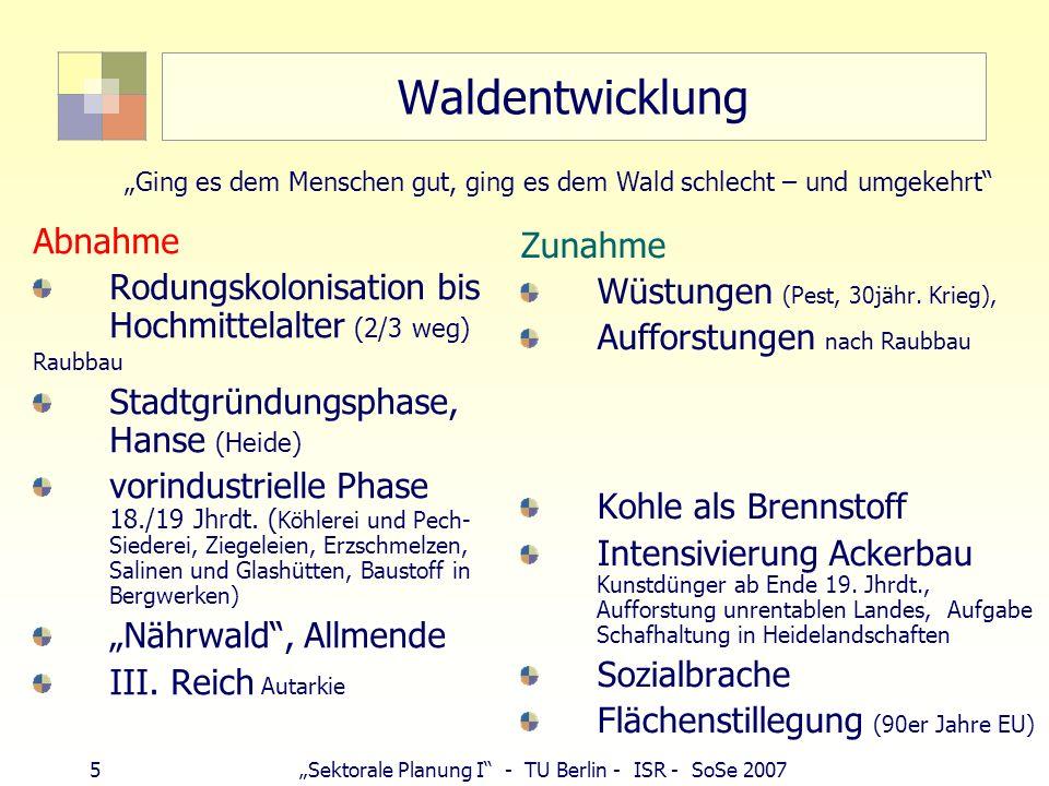 5Sektorale Planung I - TU Berlin - ISR - SoSe 2007 Waldentwicklung Abnahme Rodungskolonisation bis Hochmittelalter (2/3 weg) Raubbau Stadtgründungspha