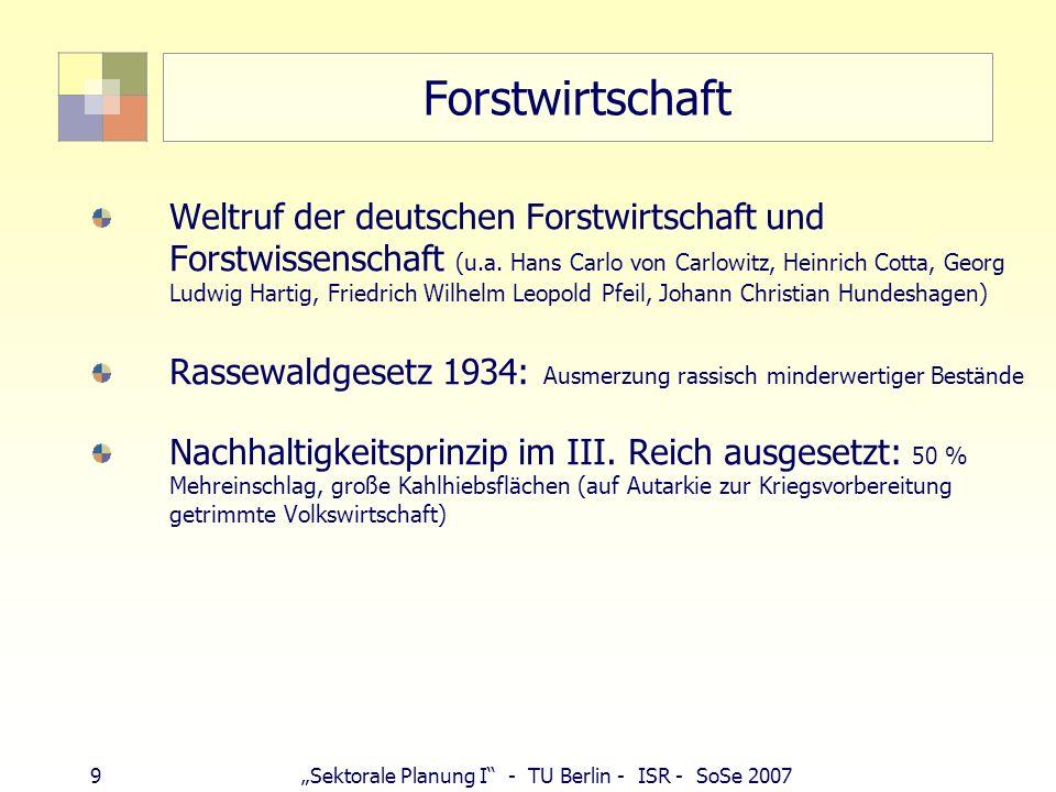 9Sektorale Planung I - TU Berlin - ISR - SoSe 2007 Forstwirtschaft Weltruf der deutschen Forstwirtschaft und Forstwissenschaft (u.a. Hans Carlo von Ca