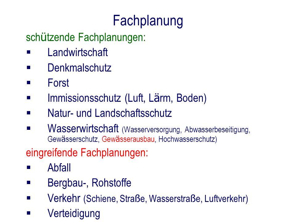 Fachplanung sch ü tzende Fachplanungen: Landwirtschaft Denkmalschutz Forst Immissionsschutz (Luft, L ä rm, Boden) Natur- und Landschaftsschutz Wasserw