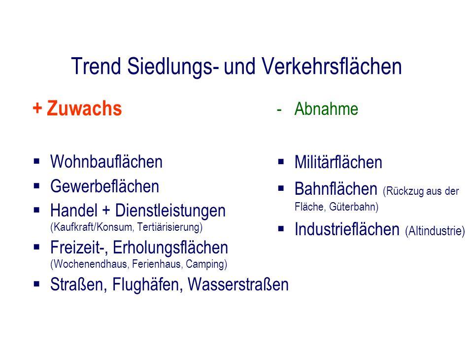 Trend Siedlungs- und Verkehrsflächen + Zuwachs Wohnbauflächen Gewerbeflächen Handel + Dienstleistungen (Kaufkraft/Konsum, Tertiärisierung) Freizeit-,