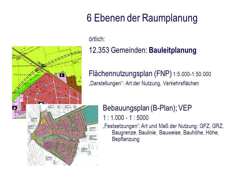 6 Ebenen der Raumplanung örtlich: 12.353 Gemeinden: Bauleitplanung Flächennutzungsplan (FNP) 1:5.000-1:50.000 Darstellungen: Art der Nutzung, Verkehrs