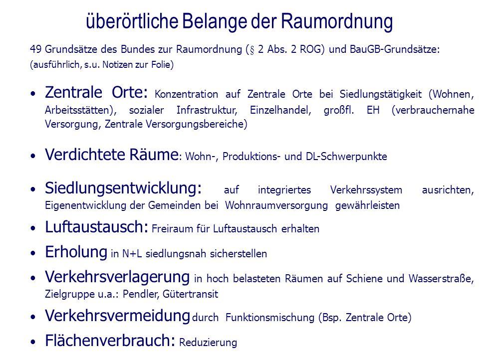 überörtliche Belange der Raumordnung 49 Grundsätze des Bundes zur Raumordnung (§ 2 Abs. 2 ROG) und BauGB-Grundsätze: (ausführlich, s.u. Notizen zur Fo