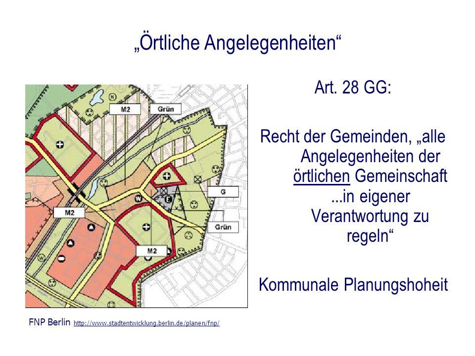 Örtliche Angelegenheiten Art. 28 GG: Recht der Gemeinden, alle Angelegenheiten der örtlichen Gemeinschaft...in eigener Verantwortung zu regeln Kommuna