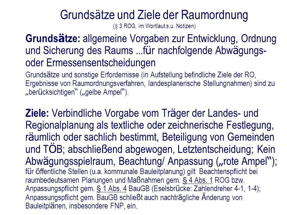 Grundsätze und Ziele der Raumordnung (§ 3 ROG, im Wortlaut s.u. Notizen) Grunds ä tze: allgemeine Vorgaben zur Entwicklung, Ordnung und Sicherung des