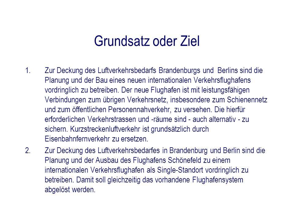 Grundsatz oder Ziel 1.Zur Deckung des Luftverkehrsbedarfs Brandenburgs und Berlins sind die Planung und der Bau eines neuen internationalen Verkehrsfl