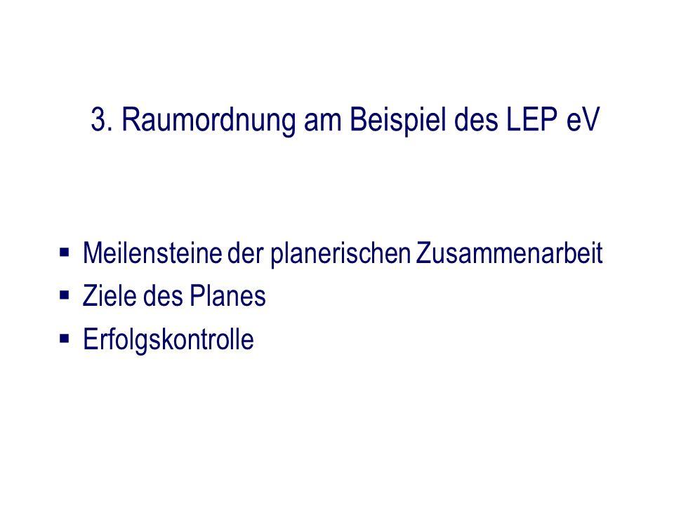 3. Raumordnung am Beispiel des LEP eV Meilensteine der planerischen Zusammenarbeit Ziele des Planes Erfolgskontrolle