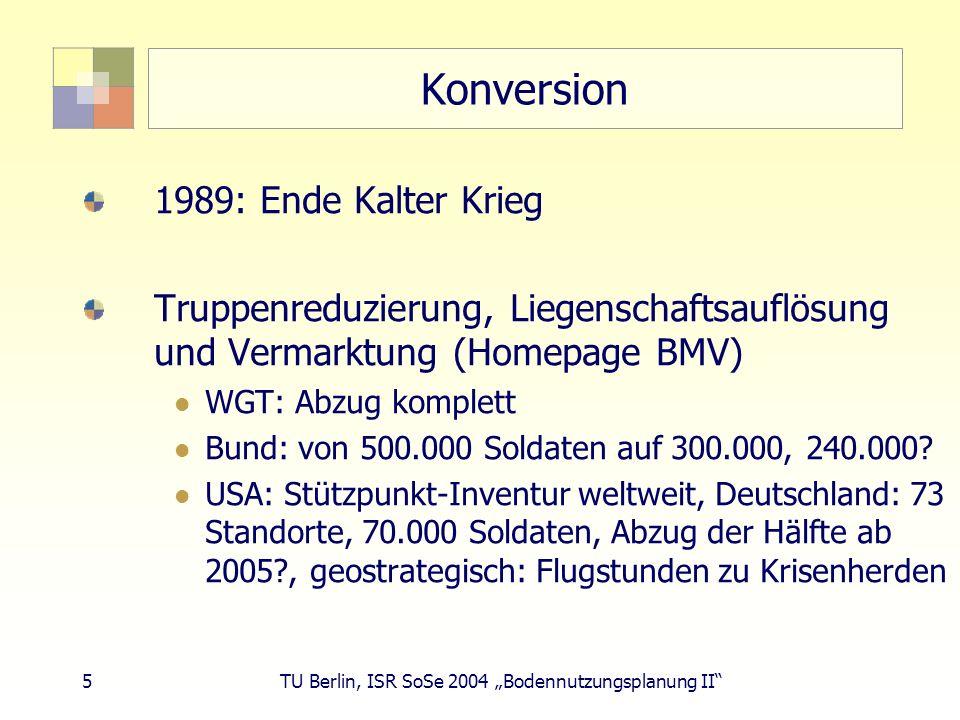 5 TU Berlin, ISR SoSe 2004 Bodennutzungsplanung II Konversion 1989: Ende Kalter Krieg Truppenreduzierung, Liegenschaftsauflösung und Vermarktung (Homepage BMV) WGT: Abzug komplett Bund: von 500.000 Soldaten auf 300.000, 240.000.
