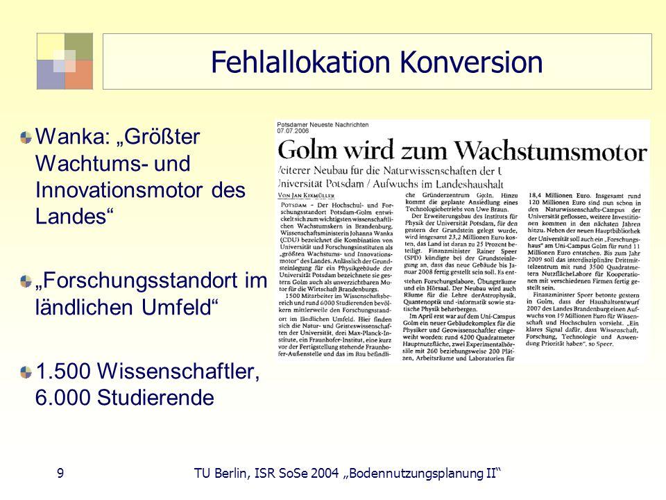 10 TU Berlin, ISR SoSe 2004 Bodennutzungsplanung II Fehlallokation Konversion Asylbewerberheim im ehem.