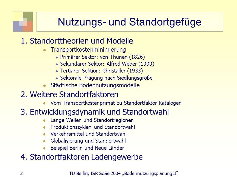 3 TU Berlin, ISR SoSe 2004 Bodennutzungsplanung II Standorttheorien Primärer Sektor: Bergbau: Lagerstätten bestimmen Standort (standortgebundenes Gewerbe vgl.