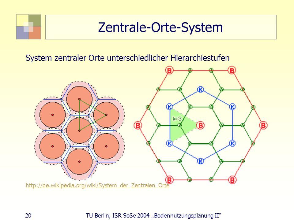20 TU Berlin, ISR SoSe 2004 Bodennutzungsplanung II Zentrale-Orte-System System zentraler Orte unterschiedlicher Hierarchiestufen http://de.wikipedia.