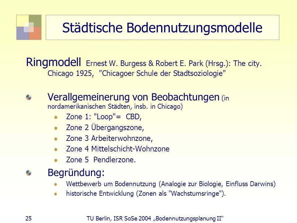 25 TU Berlin, ISR SoSe 2004 Bodennutzungsplanung II Städtische Bodennutzungsmodelle Ringmodell Ernest W. Burgess & Robert E. Park (Hrsg.): The city. C
