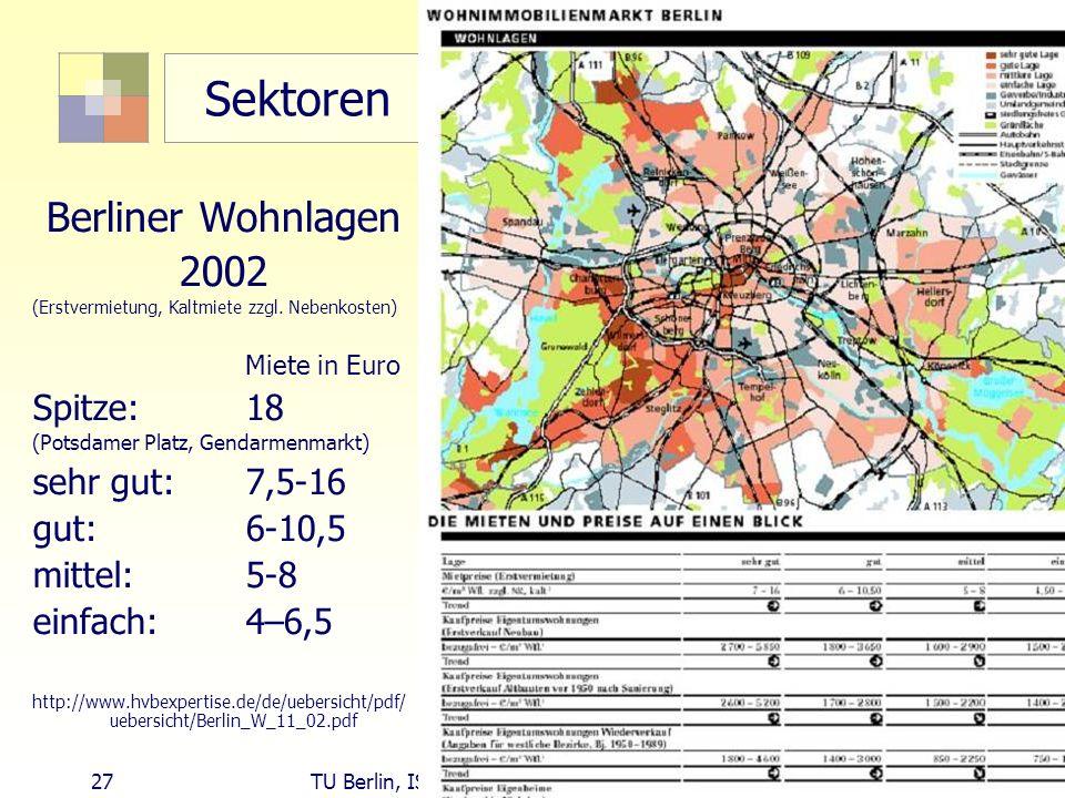 27 TU Berlin, ISR SoSe 2004 Bodennutzungsplanung II Sektoren Berliner Wohnlagen 2002 (Erstvermietung, Kaltmiete zzgl. Nebenkosten) Miete in Euro Spitz
