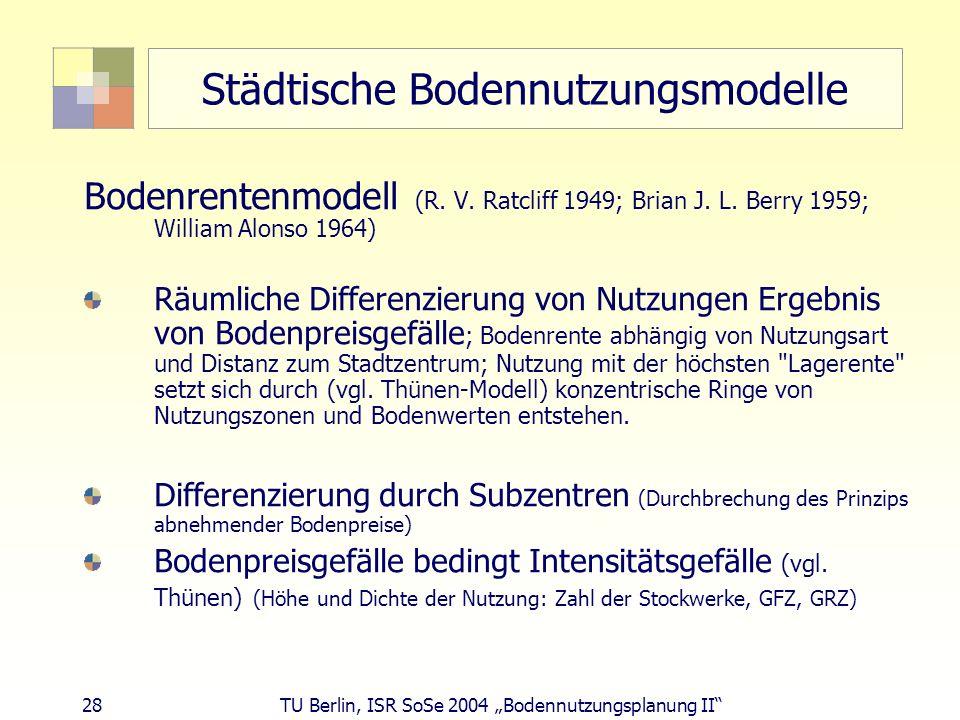 28 TU Berlin, ISR SoSe 2004 Bodennutzungsplanung II Städtische Bodennutzungsmodelle Bodenrentenmodell (R. V. Ratcliff 1949; Brian J. L. Berry 1959; Wi