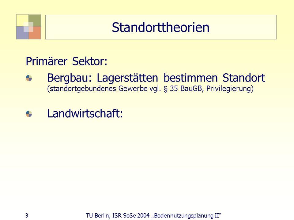 3 TU Berlin, ISR SoSe 2004 Bodennutzungsplanung II Standorttheorien Primärer Sektor: Bergbau: Lagerstätten bestimmen Standort (standortgebundenes Gewe