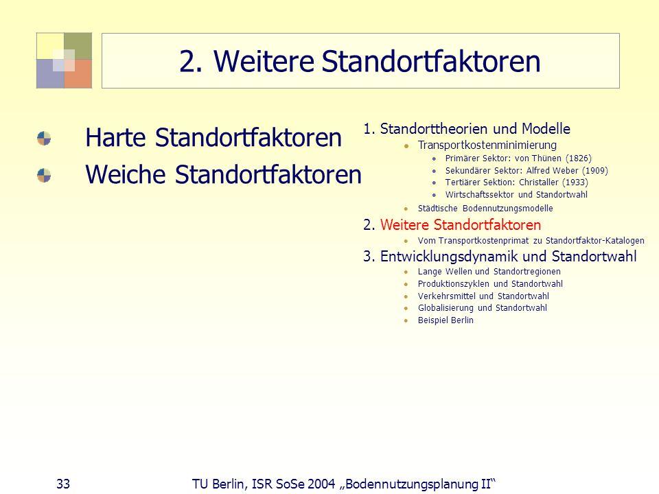 33 TU Berlin, ISR SoSe 2004 Bodennutzungsplanung II 2. Weitere Standortfaktoren Harte Standortfaktoren Weiche Standortfaktoren 1. Standorttheorien und