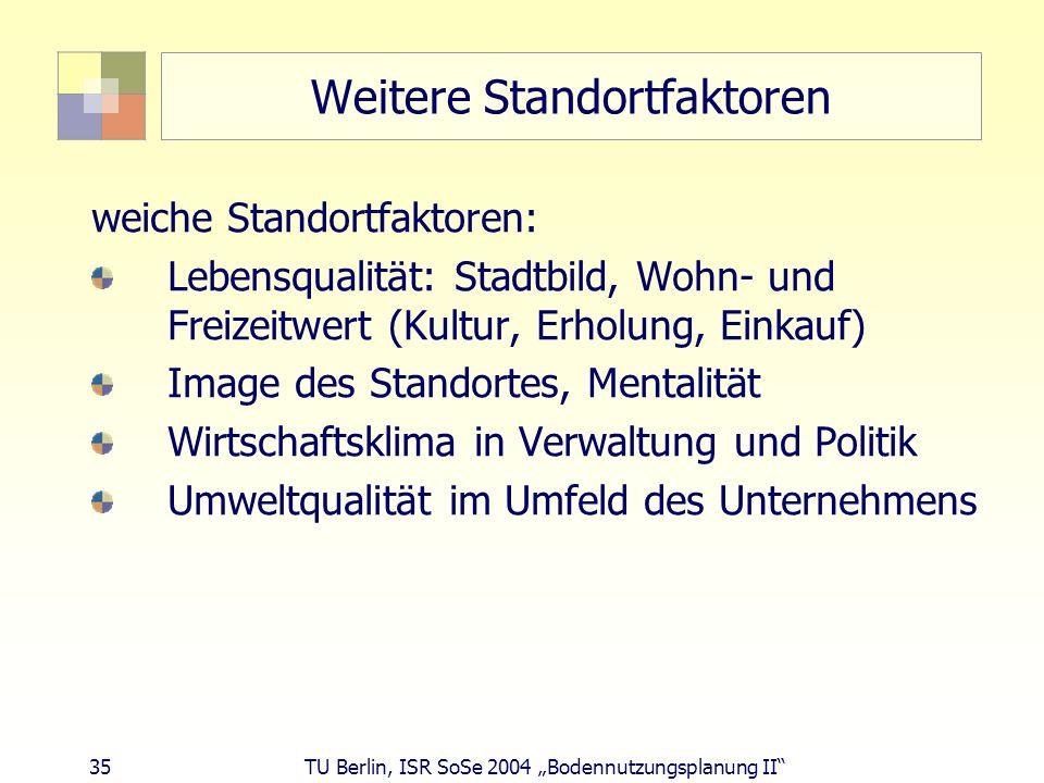 35 TU Berlin, ISR SoSe 2004 Bodennutzungsplanung II Weitere Standortfaktoren weiche Standortfaktoren: Lebensqualität: Stadtbild, Wohn- und Freizeitwer