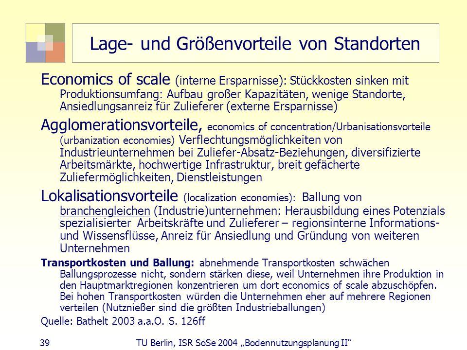39 TU Berlin, ISR SoSe 2004 Bodennutzungsplanung II Lage- und Größenvorteile von Standorten Economics of scale (interne Ersparnisse): Stückkosten sink