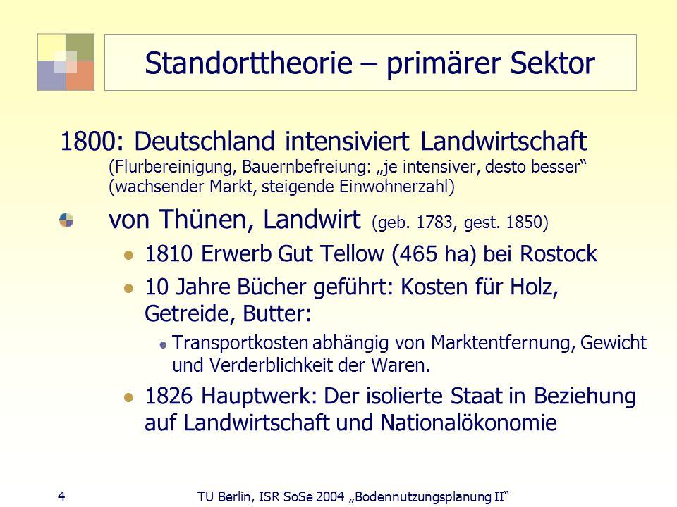 45 TU Berlin, ISR SoSe 2004 Bodennutzungsplanung II Produktionszyklen und Standortwahl Reifephase: (Erlöse > Kosten = Gewinne) wichtigste Standortfaktoren: billige Arbeitskräfte niedrige Standortkosten Marktnähe Standardisierungsphase (Schrumpfungsphase) (Kosten > Erlöse = Verluste) wichtigste Standortfaktoren: billige Arbeitskräfte niedrige Standortkosten in vielen Branchen Produktionsauslagerung in Billiglohnländer in der Schrumpfungsphase