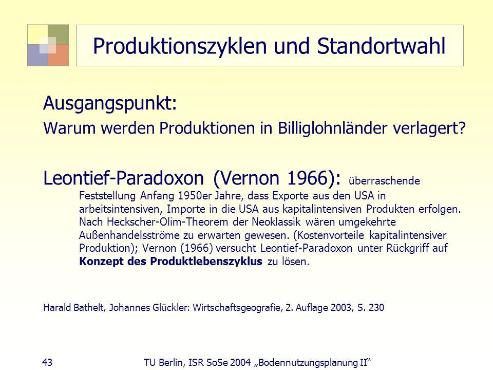 43 TU Berlin, ISR SoSe 2004 Bodennutzungsplanung II Produktionszyklen und Standortwahl Ausgangspunkt: Warum werden Produktionen in Billiglohnländer ve