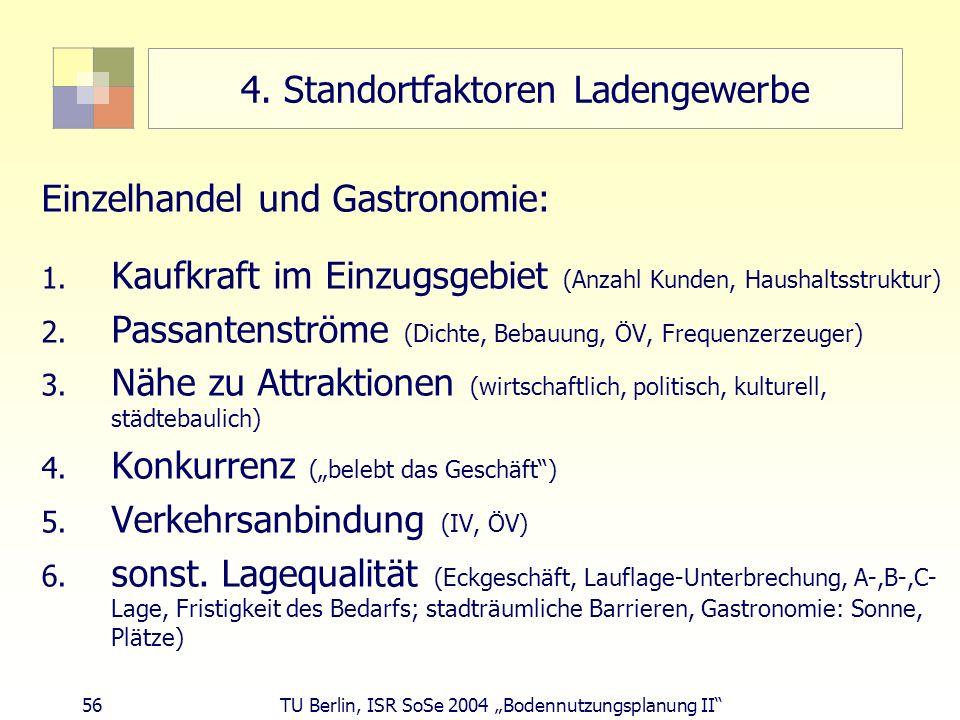 56 TU Berlin, ISR SoSe 2004 Bodennutzungsplanung II 4. Standortfaktoren Ladengewerbe Einzelhandel und Gastronomie: 1. Kaufkraft im Einzugsgebiet (Anza
