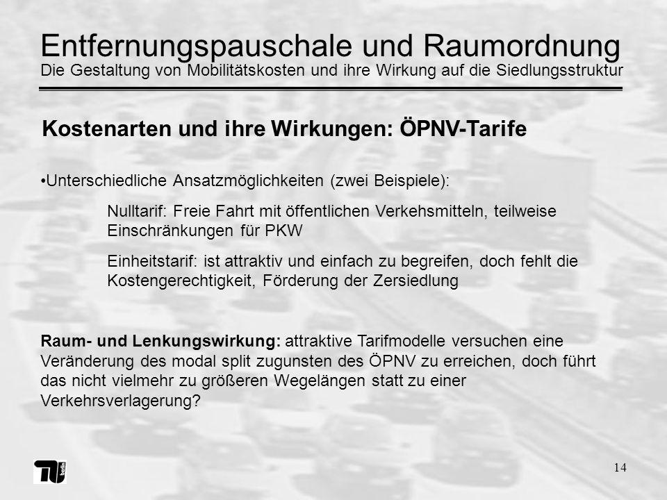 14 Unterschiedliche Ansatzmöglichkeiten (zwei Beispiele): Nulltarif: Freie Fahrt mit öffentlichen Verkehsmitteln, teilweise Einschränkungen für PKW Ei