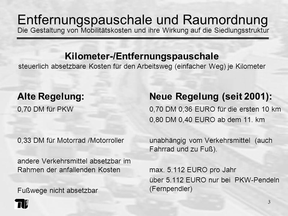 3 0,70 DM für PKW 0,33 DM für Motorrad /Motorroller andere Verkehrsmittel absetzbar im Rahmen der anfallenden Kosten Fußwege nicht absetzbar 0,70 DM 0