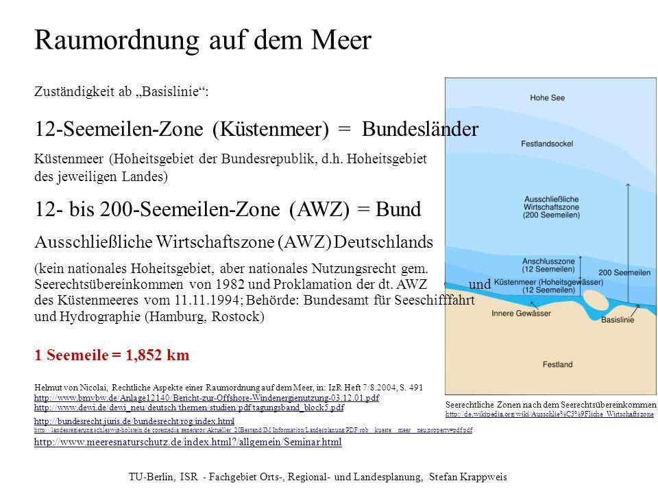 TU-Berlin, ISR - Fachgebiet Orts-, Regional- und Landesplanung, Stefan Krappweis Raumordnung auf dem Meer Zuständigkeit ab Basislinie: 12-Seemeilen-Zo
